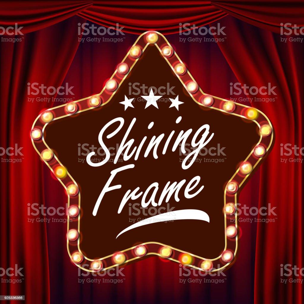 Sterne Billboard Vektor Roten Theatervorhang Leuchtendes Licht ...