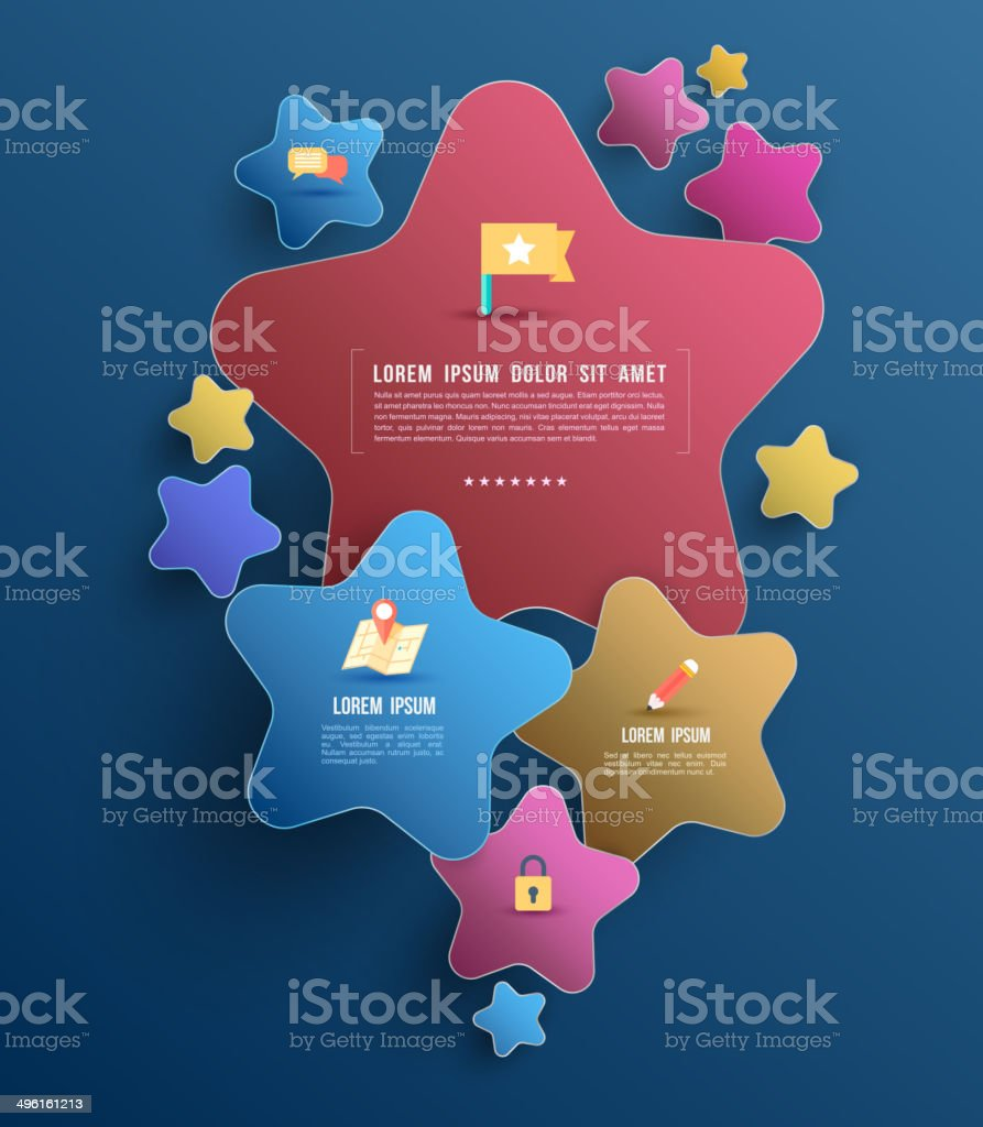 Star bubble banner with flat icons. royalty-free stock vector art