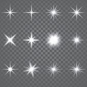 Vector illustration. Set of glowing light effect stars bursts sparkles, transparent white on grey background.