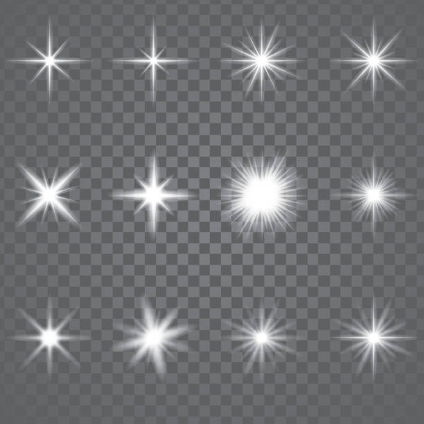 illustrazioni stock, clip art, cartoni animati e icone di tendenza di star burst sparkling light - stelle