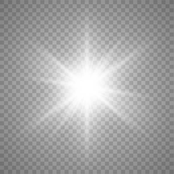 ilustrações de stock, clip art, desenhos animados e ícones de star burst. vector glowing star. light effect with rays and beams. vector - acender