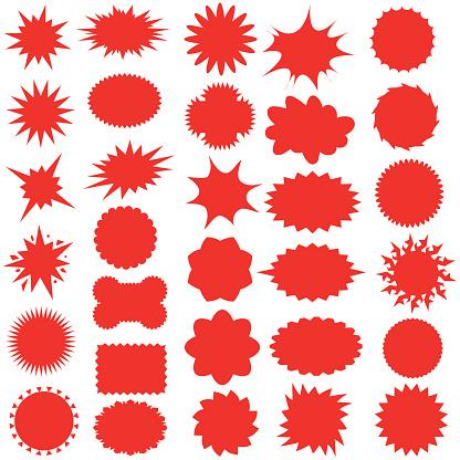 Star bursts or Sticky Stars or Badge, Sale Design or Icon - Illustration