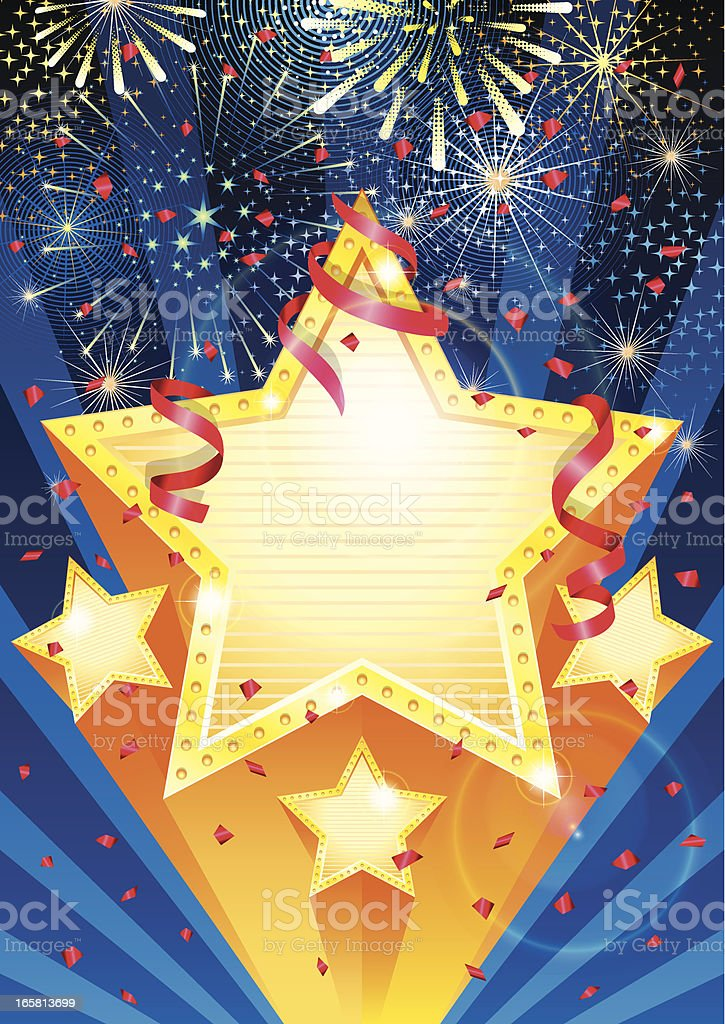 Star celebration with streamers, confetti and fireworks vector art illustration