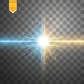 Star clash and explosion light effect, neon shining laser collision surrounded by stardust on transparent background. Expressive illustration, technical innovation, shocking news or invention symbol