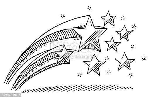 Hand-drawn vector drawing of a Stars Decoration. Black-and-White sketch on a transparent background (.eps-file). Included files are EPS (v10) and Hi-Res JPG.