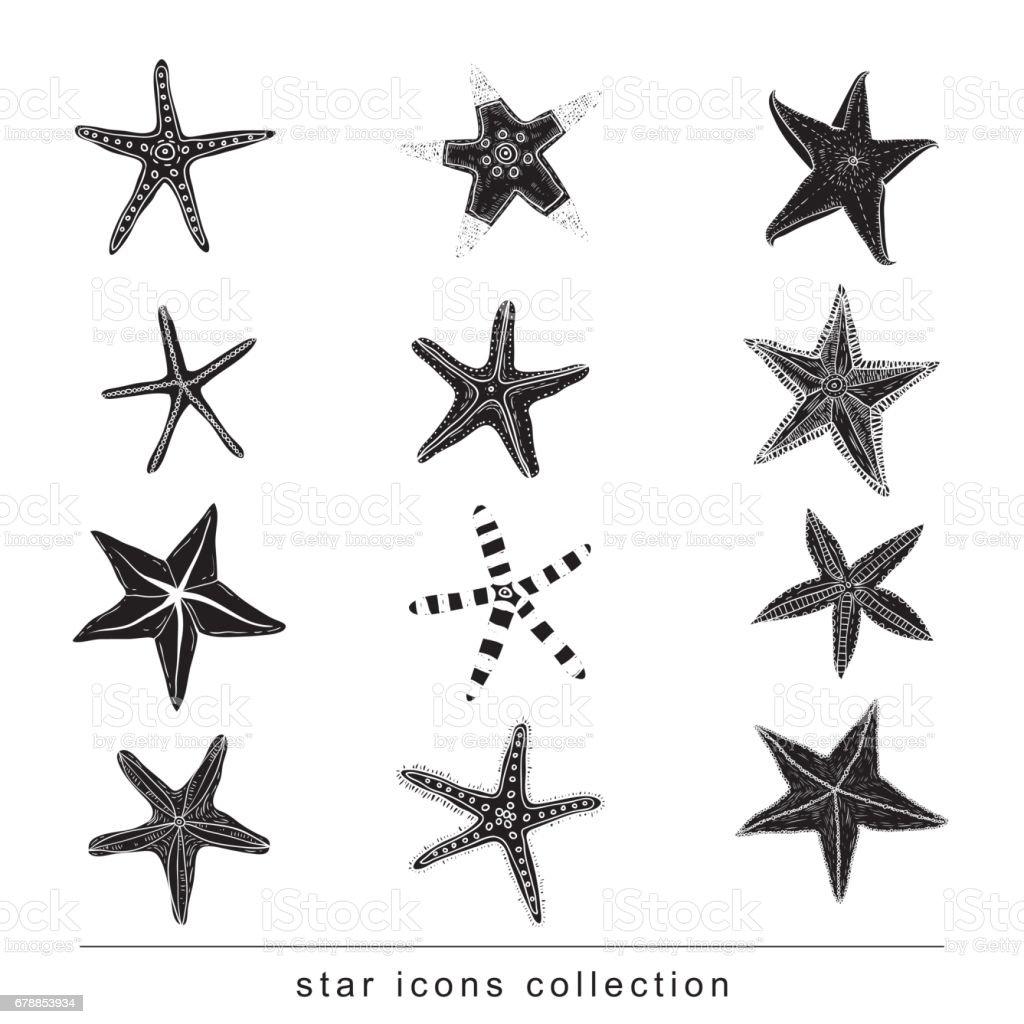 Star Doodles, hand drawn vector illustration. vector art illustration