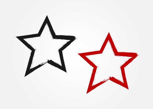 大まかな筆で手で描いた星。グランジ、スケッチ、落書き。 - 星のタトゥー点のイラスト素材/クリップアート素材/マンガ素材/アイコン素材