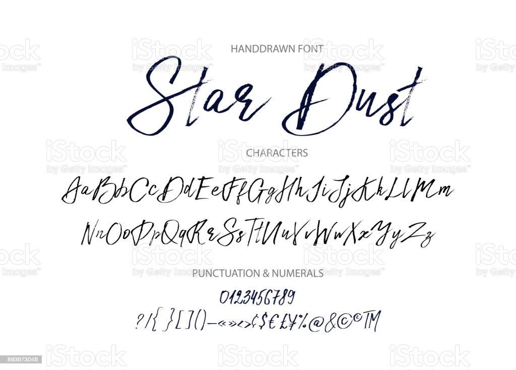 Star dust. Handdrawn vector font