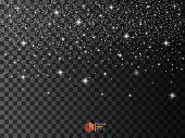 Star Effects. Stardust on a transparent background. Falling Star. Vector illustration.