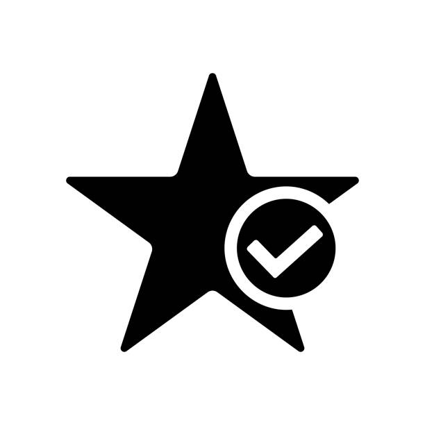 Star favorite icon. Star with tick symbol Star favorite icon in flat style. Star with tick symbol isolated on white background. Simple star abstract icon in black. Vector illustration for graphic design, Web, UI, app choosing stock illustrations