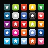 Star favorite white sign on colored satin rounded square icon. Green, brown, yellow, blue, gray, black, red, violet, orange, blue, pink, purple colors web internet button empty shapes with reflection on black background.