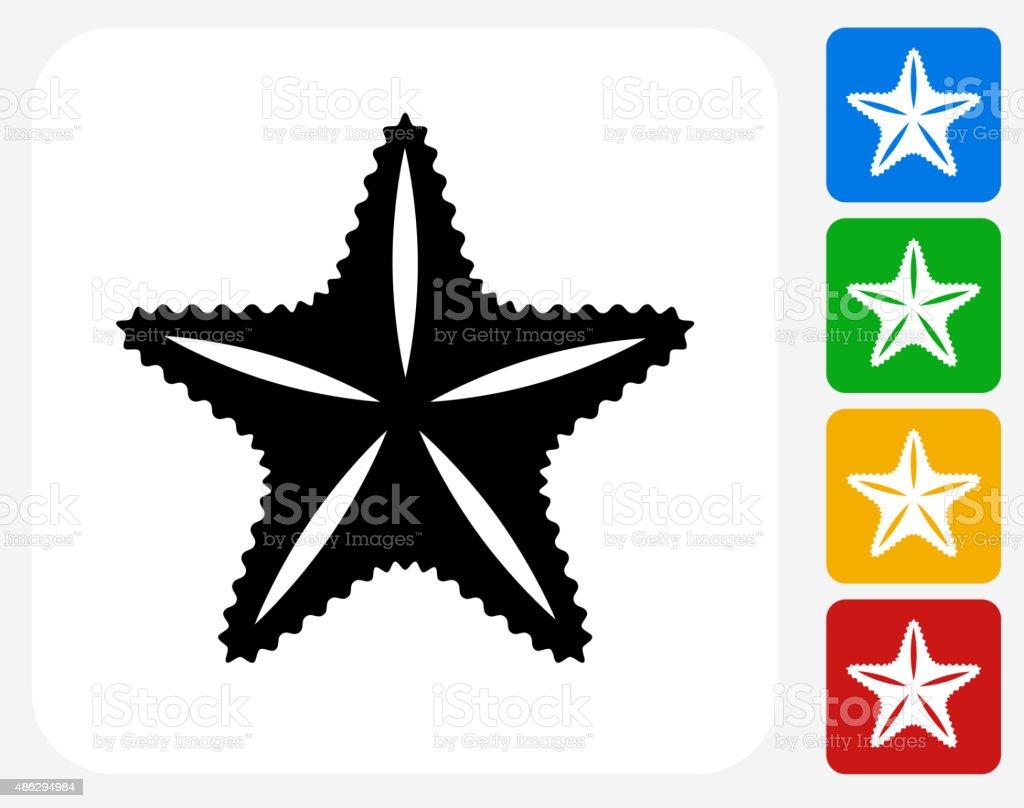 Star Fish Icon Flat Graphic Design vector art illustration