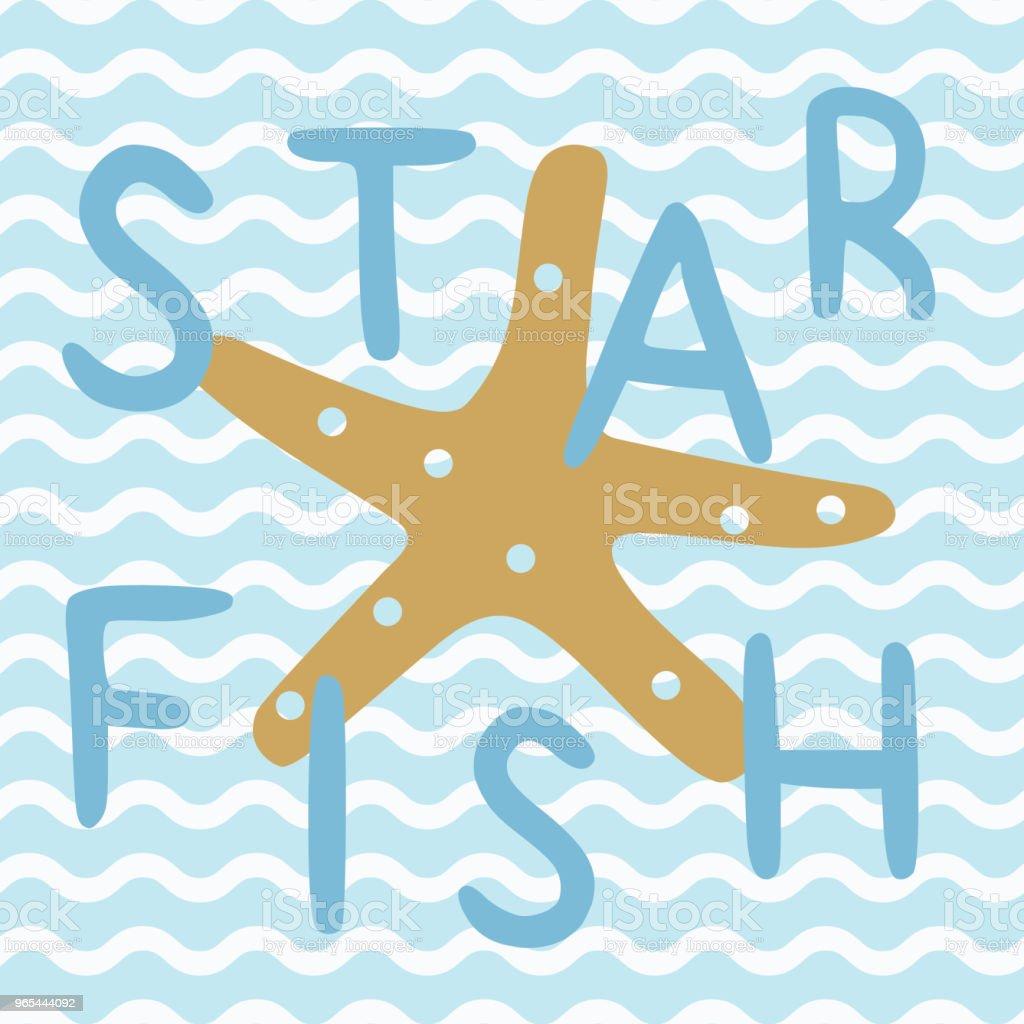 Star fish in blue nautical ocean poster star fish in blue nautical ocean poster - stockowe grafiki wektorowe i więcej obrazów bazgroły - rysunek royalty-free