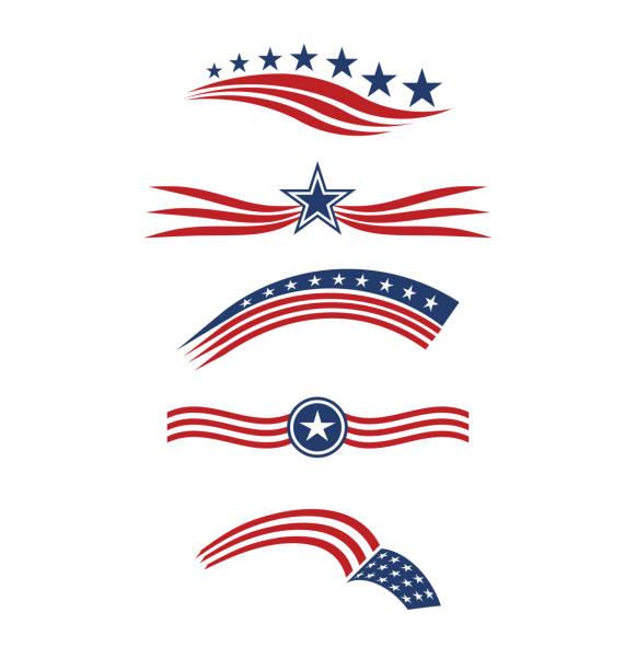 usa star flag set stripes design elements vector icons - us flag stock illustrations