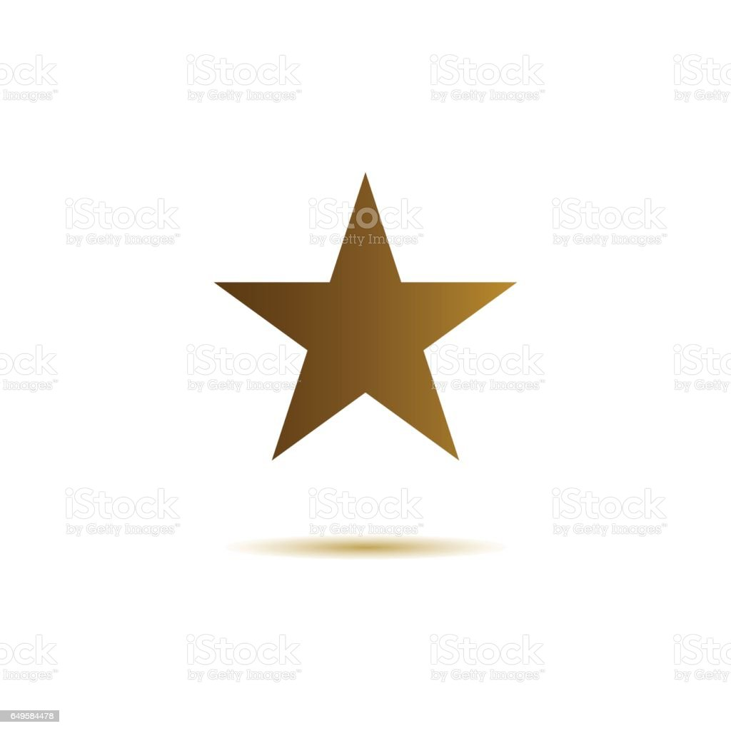 Star flat icon gold color on white background vector art illustration