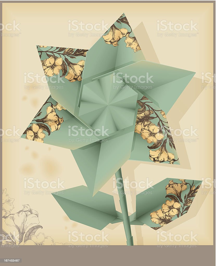 Star flower made from vintage decorative paper. Eps 10 royalty-free stock vector art