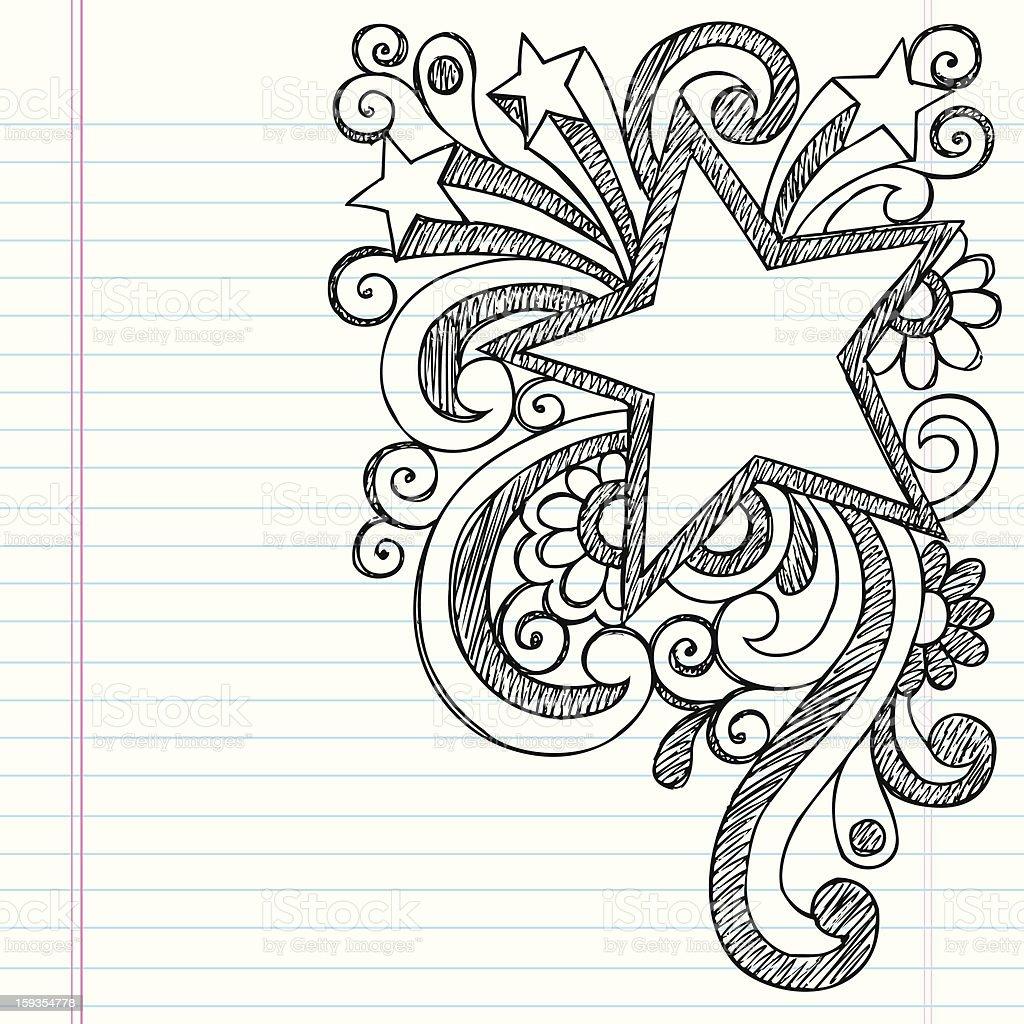Star Frame Sketchy Notebook Doodle Vector Design vector art illustration