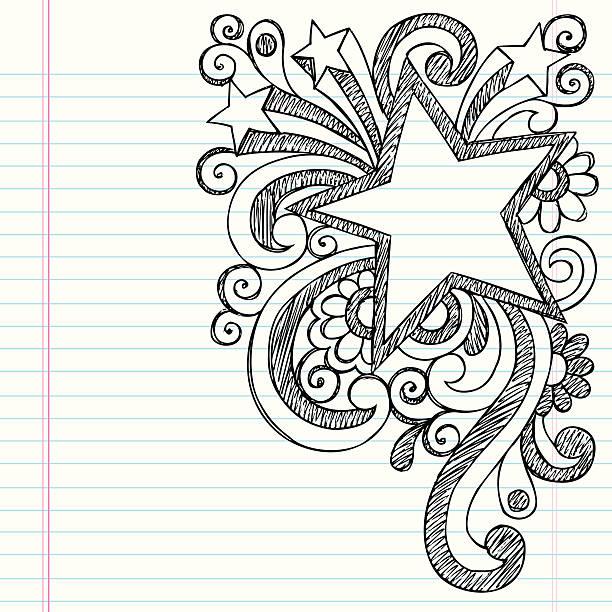 ilustraciones, imágenes clip art, dibujos animados e iconos de stock de star bastidor cuaderno doodle vector diseño de trazado - marcos de garabatos y dibujados a mano
