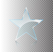 Star glass banners shine shape template on transparent background. Realistic 3D design. Vector transparent object.