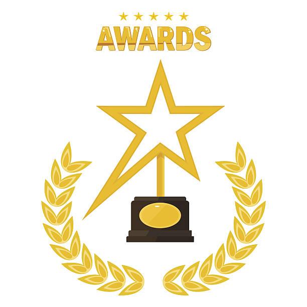 star gold award - oscars stock illustrations, clip art, cartoons, & icons