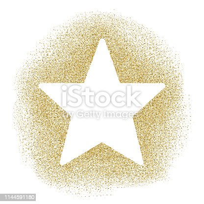 istock Star - Gold vector glitter Christmas Ornament on white background 1144591180