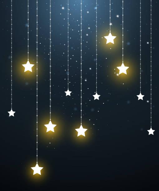 ilustrações, clipart, desenhos animados e ícones de suspensão de estrela em noite estrelada - mobile