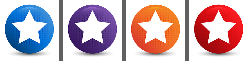 Star icon abstract halftone round button set