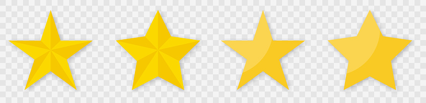 Star icon collection. Star vector icons set with shadow. Yellow stars different shapes isolated on transparent background.