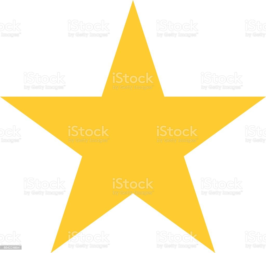 Star icon favorite sign bookmark button flat style Flat star icon favorite sign bookmark yellow button. Quick and easy recolorable shape isolated from background. Vector illustration a graphic element for web internet design Bookmark stock vector