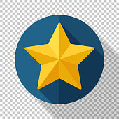 Star icon in flat style with long shadow on transparent background