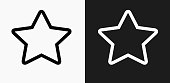 Star Icon on Black and White Vector Backgrounds