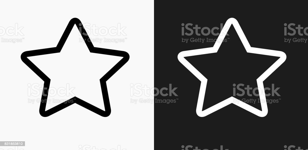 Star Icon on Black and White Vector Backgrounds vector art illustration