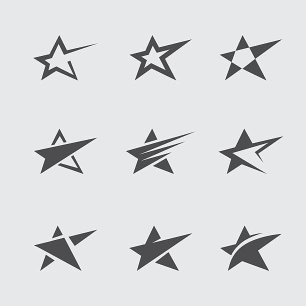 Star icon set Set of black abstract star icons and symbols fame stock illustrations