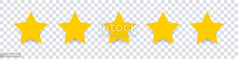 Star icon. Vector yellow isolated five stars. Customer feedback concept. Vector 5 stars rating review. Quality shape design. EPS 10