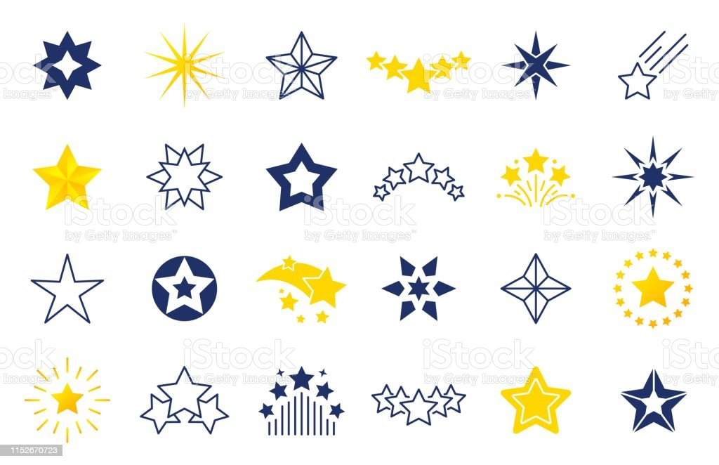 Star icons. Premium black and outline symbols of star shapes, four...