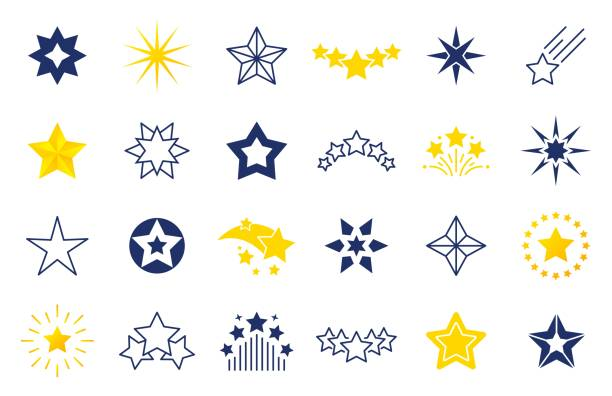 illustrazioni stock, clip art, cartoni animati e icone di tendenza di star icons. premium black and outline symbols of star shapes, four five six-pointed star labels on white background. vector stars set - stelle