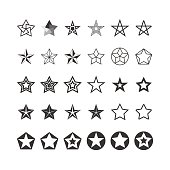 Star Icons Set. Black And White. Vector.