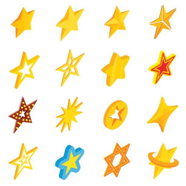 Sterne Icons Set, isometrischen 3d Stil – Vektorgrafik