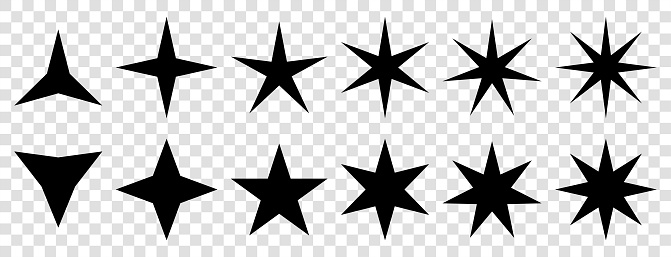 Star icons vector. Stars symbols with different pointed : three, four, five, six, seven, eight. Vector illustration on transparent background