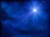 Shining star in the dark blue night sky, illustration.