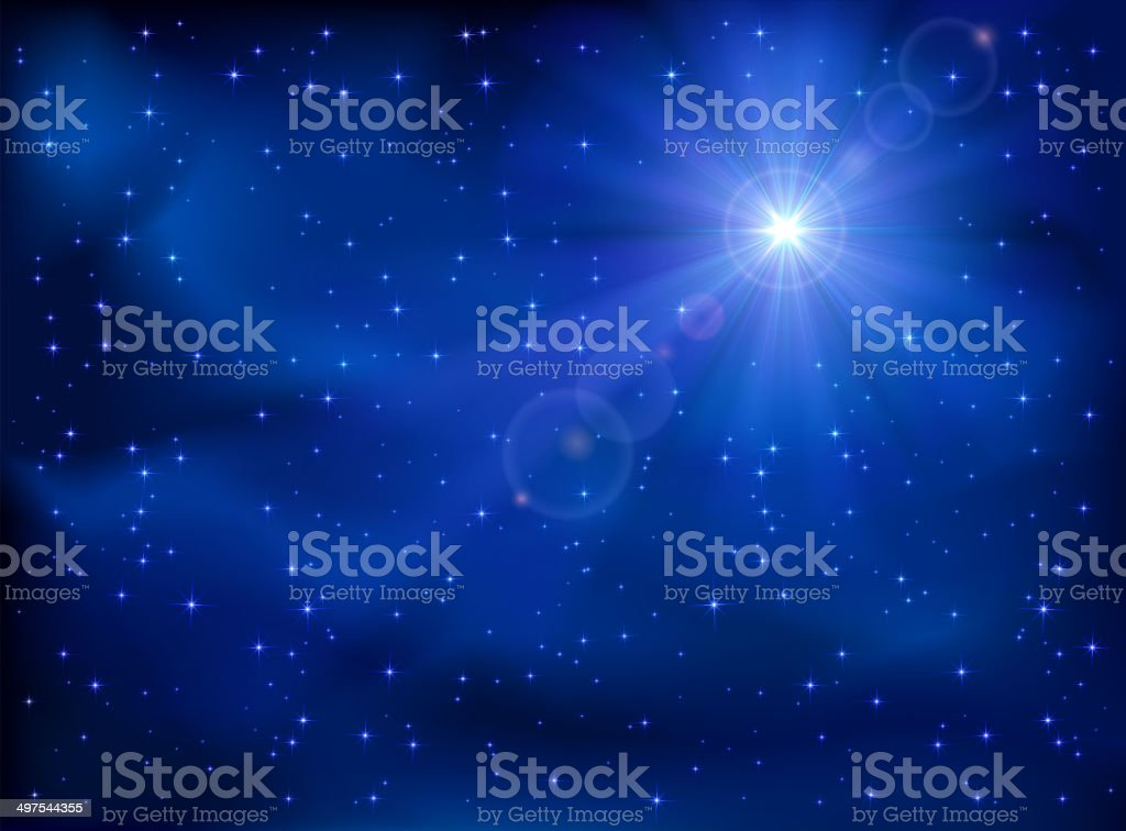 Star in the sky vector art illustration