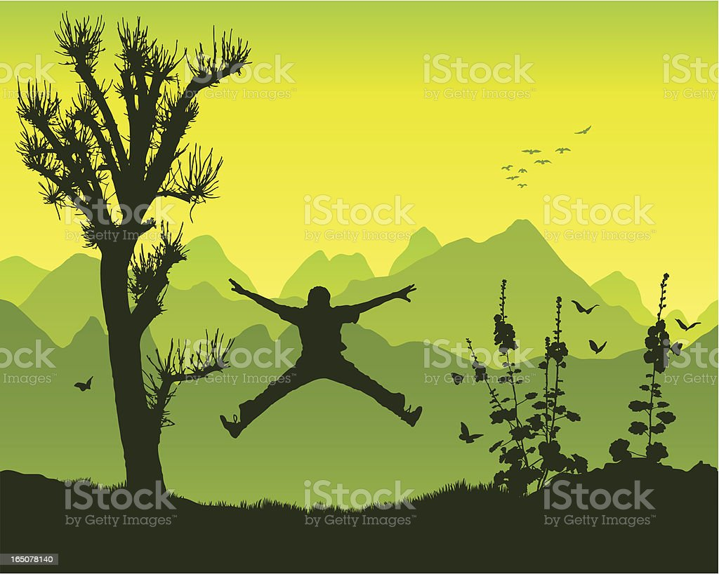 Star jump in the mountains vector art illustration