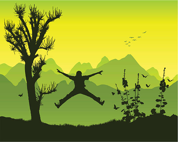 hampelmannsprung in den bergen - spagat stock-grafiken, -clipart, -cartoons und -symbole