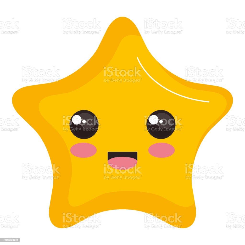 star light kawaii character vector art illustration