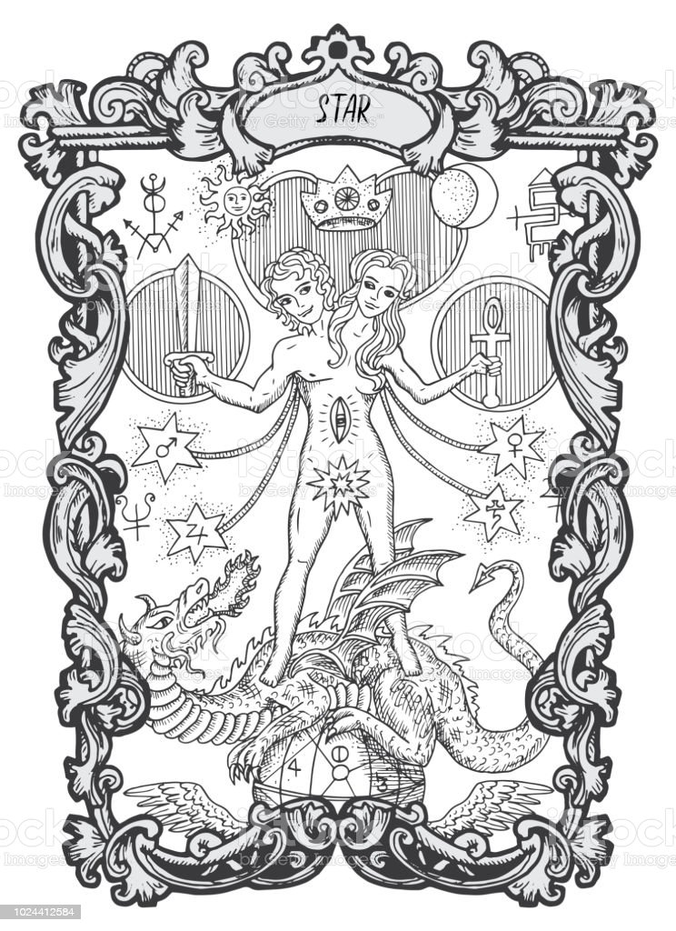 Tarot Art La Estrella Mayor Arcana Tarot Tarjeta Vintage Ilustraci/ón Imprimible Diccionario Arte de la pared