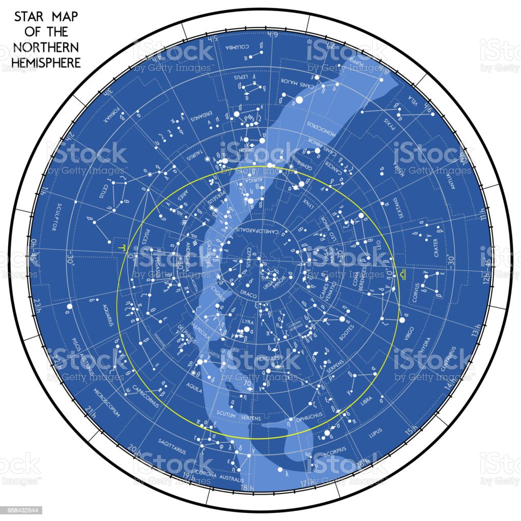 Star Map Of The Northern Hemisphere Stock Vector Art More Images
