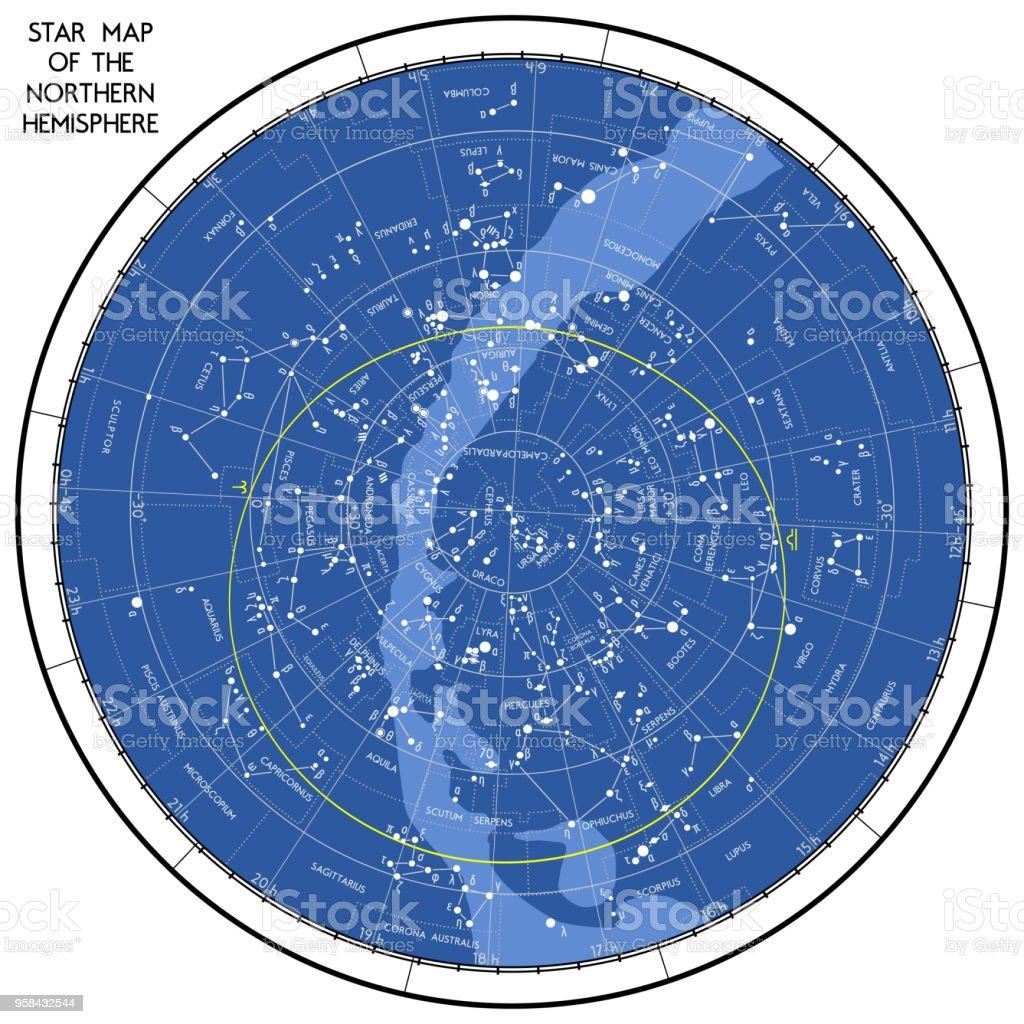 Mapa Estelar Hemisferio Norte.Ilustracion De Mapa Estelar Del Hemisferio Norte Y Mas Vectores Libres De Derechos De Acuario Signo Zodiaco De Aire
