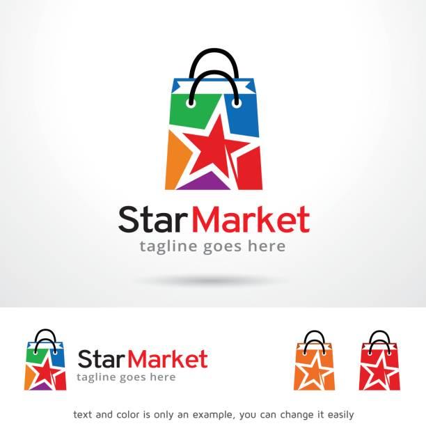 스타 시장 기호 서식 파일 디자인 벡터, 상징, 디자인 개념, 크리에이 티브 기호 아이콘 - 샘플 텍스트 stock illustrations