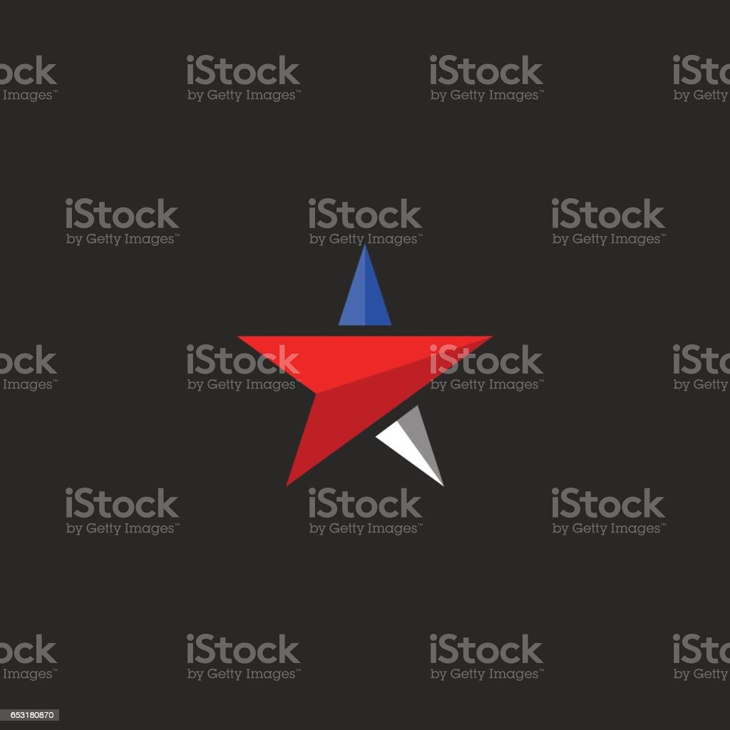 Star mockup, USA patriotic icon design element template in american flag colors, t-shirt national print vector art illustration
