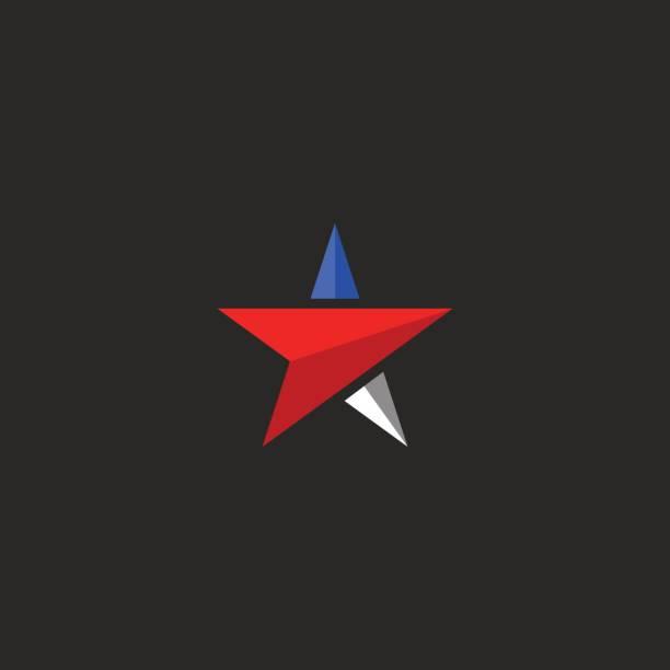 ilustrações, clipart, desenhos animados e ícones de estrela maquete, modelo de elemento de design eua ícone patriótico nas cores da bandeira americana, imprimir nacional de t-shirt - forças armadas